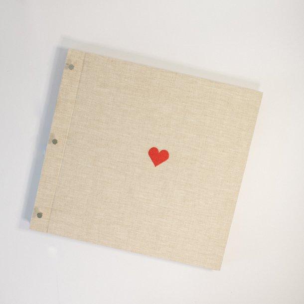 álbum de fotos big pino em linho cru - coleção coração - mim papelaria