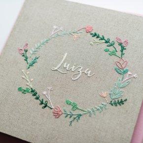 Imagem - álbum de fotos big personalizado - bordado à mão - mim papelaria