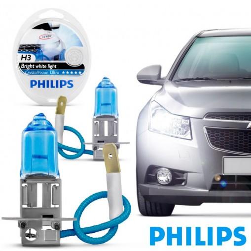 Farol Lâmpada Automotiva H3 Crystal Vision Ultra 4300K Philips