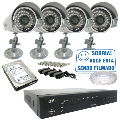 Kit 4 Câmeras Infra IR CCD 700TVL Dvr Stand Alone 4 Canais Acesso Remoto Via Celular + HD CF404