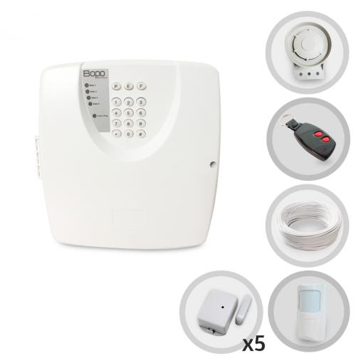 Kit Alarme Residencial ou Comercial Sem Fio Bopo Com 6 Sensores e Discadora