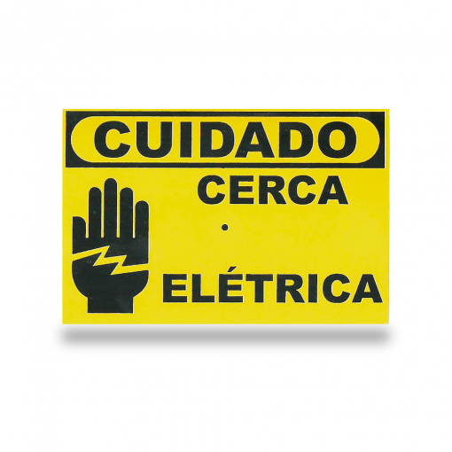 Placa de Advertência Cuidado cerca elétrica