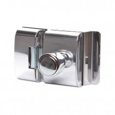 Fechadura Elétrica AGL para Porta de Vidro Abertura Interna Cromada Inox Tipo Bola