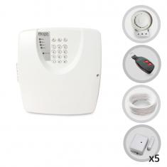Kit Alarme Residencial ou Comercial Sem Fio 5 Sensores Magnéticos e Discadora Telefônica Bopo