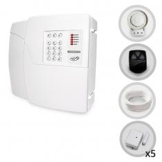 Kit Alarme Residencial ou Comercial Sem Fio PPA Com 5 Sensores Magnéticos e Discadora para Portas e Janelas (Controles e Sensores Já Configurados)