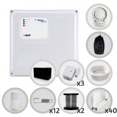 Kit Cerca Elétrica Com Alarme Sem Fio ECP 4 Sensores Para 120 Metros de Muro (Com bateria)