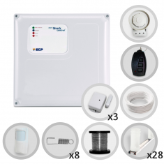 Kit Cerca Elétrica Com Alarme Sem Fio ECP 4 Sensores Para 80 Metros de Muro (Sem bateria)