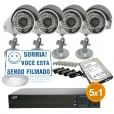 Imagem - Kit Cftv Completo 4 Câmeras Infra até 25 metros com Dvr 4 Canais PPA + HD