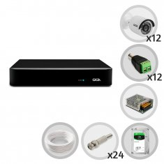 Kit CFTV DVR 16 canais Open HD 1080N com 12 câmeras Bullet 720p GIGA