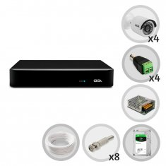 Kit CFTV DVR 4 canais Open HD 1080N com 4 câmeras Bullet 720p GIGA