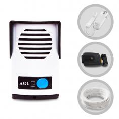 Imagem - Kit Interfone Porteiro Eletrônico AGL e Fechadura Elétrica 12 Volts 20 Metros de Cabo