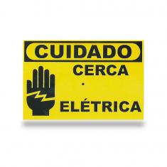 Imagem - Placa de Advertência Cuidado cerca elétrica