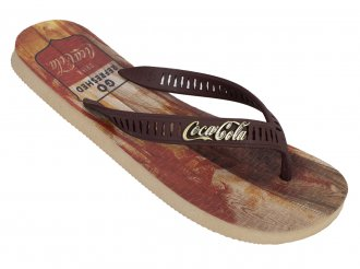 Imagem - Chinelo Coca Cola Tropic Wood Juvenil cód: 053090