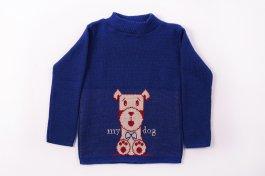 Imagem - Blusa Básica Acrílica Bebê Menino Azul Royal Estampa Cachorro