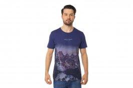 Imagem - Camiseta Masculina Manga Curta Gola Redonda Marinho Com Estampa