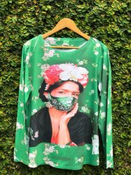 Imagem - Blusa Frida Kahlo com Máscara Verde cód: 268