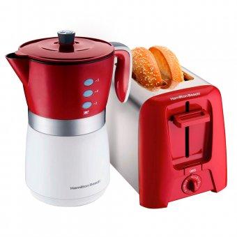 Imagem - Kit Cafeteira Elétrica Vermelha 43700 + Torradeira Cromada 22623 Hamilton Beach 127V