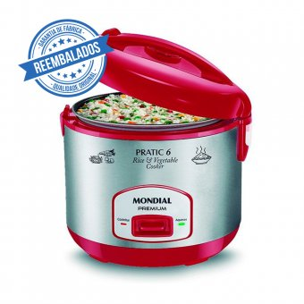 Imagem - Panela Elétrica Pratic Rice 6 Xic Red Premium Mondial PE-35 400W 220V Outlet