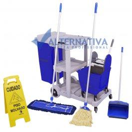 Imagem - Carrinho de Limpeza Multifuncional Kit 3 Completo - Limpeza Úmida e Seca
