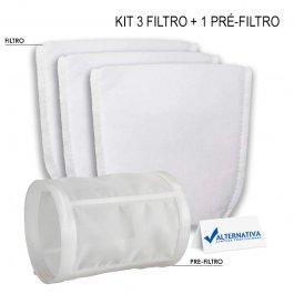 Imagem - KIT 3 FILTRO TECIDO + 1 PRE-FILTRO ASPIRADOR MAKITA DCL180 | CL106FD | DCL280 | DCL 281 | DCL283