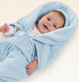 Imagem - Cobertor Relevo Azul com Capuz Jolitex cód: 013316