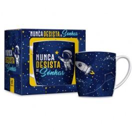 Imagem - Caneca Porcelana Astronauta 360ml Brasfoot cód: 019322
