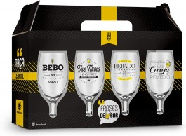 Imagem - Jogo Taças Cerveja Frases 4 Peças Brasfoot cód: 008678