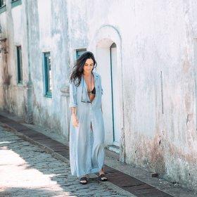 Imagem - Maxi Camisa Aragäna Feminina Listrada | Azul e Branco - 2.2474
