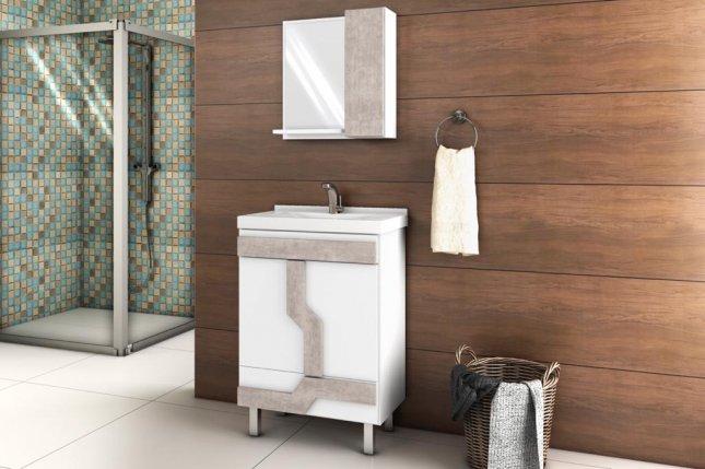 Conjunto para Banheiro com espelho 0,83x0,60m Belizze Navona