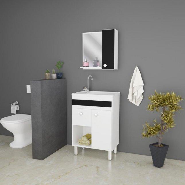 Conjunto para banheiro com espelho 0,80x0,54m Ravenna