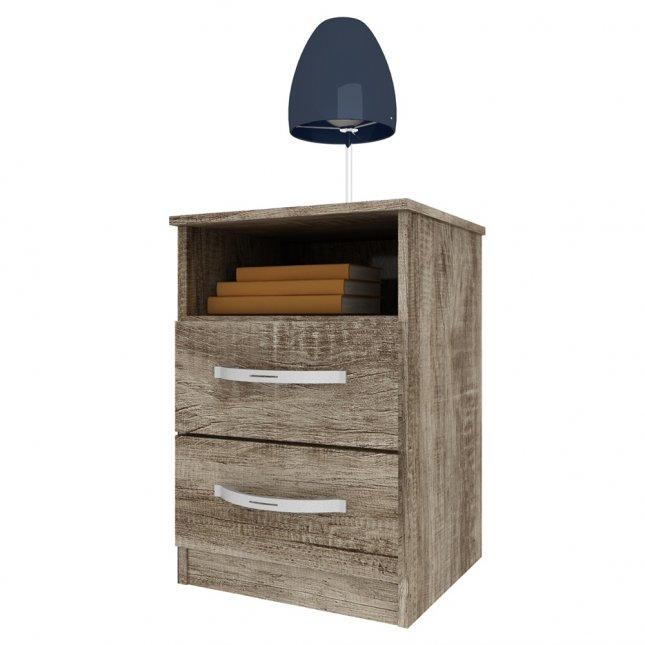 Mesa de cabeceira com 2 Gavetas 51x34cm Manto Móveis MDP Luca