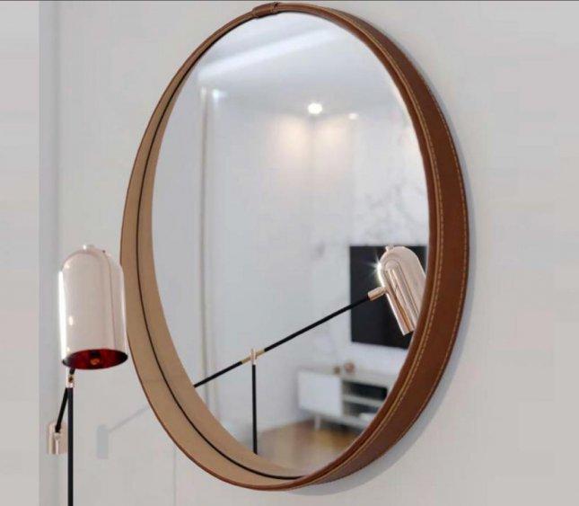Espelho Decorativo Redondo Couro Sintético 60cm Imcal Aqua