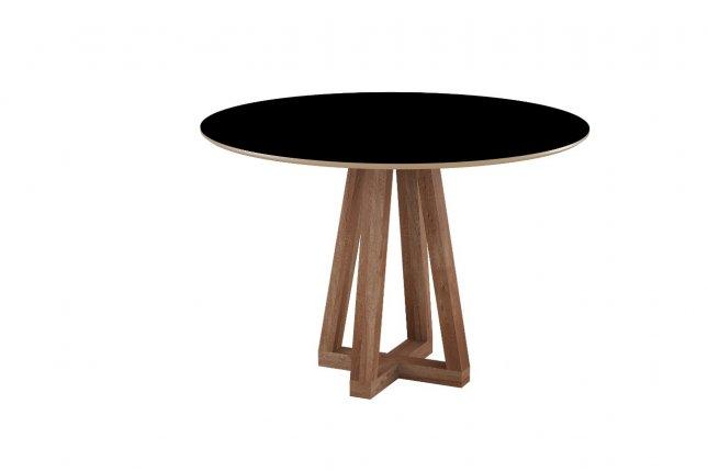 Mesa Redonda 1m Sonetto tampo MDF e vidro base madeira Lívia