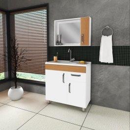 Imagem - Conjunto para Banheiro com espelho 0,80x0,77m Belizze Positano cód: 375-1