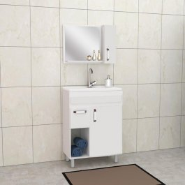 Imagem - Conjunto p/ banheiro c/ espelho 0,79x0,70m Belizze MDF Toronto cód: 376-1