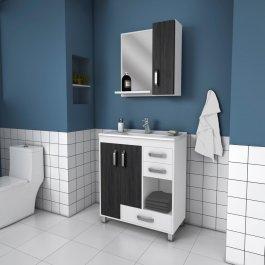 Imagem - Conjunto para banheiro c/ espelho 0,80x0,80m Belizze MDF Trento cód: 374-1