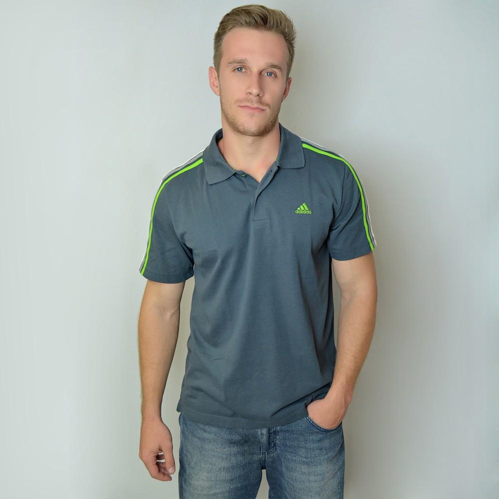 d4891949fc Camisa Polo Adidas 3S ESS M67743 - Cinza Verde - Atitude Esportes ...