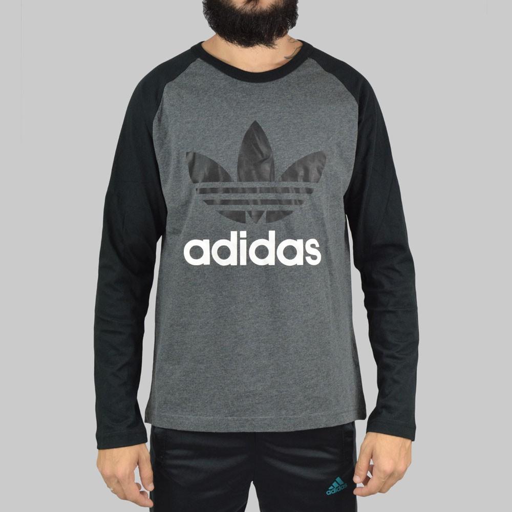 013127f27ab Camiseta Adidas Manga Longa Trefoil