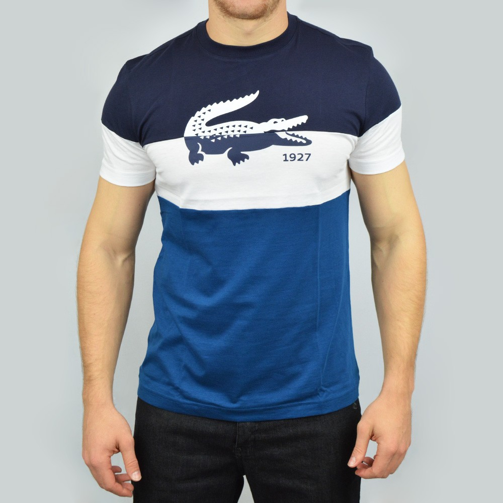 d24f110e67804 Camiseta Lacoste TH233421 - Marinho Branco - Atitude Esportes -As ...