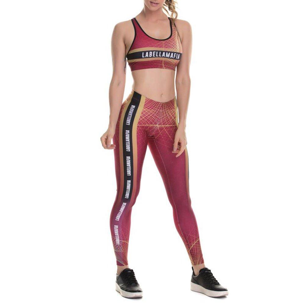 8bb8a162706 Conjunto Labellamafia Fitness Printed Creative Lines Original Feminino