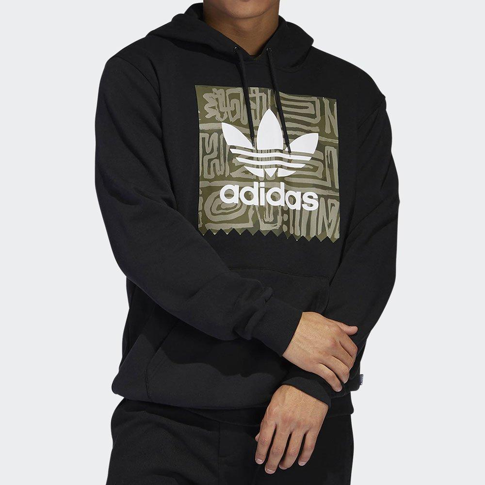ADIDAS Men's Essential Linear Logo Pullover Hoodie Black//White S98772 SZ M New!!