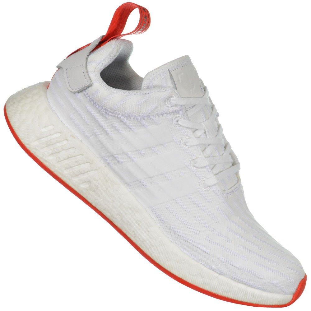 8d472496ead9f Tênis Adidas NMD R2 Primeknit BA7253 - Branco Vermelho - Atitude ...