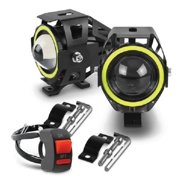 Kit Farol de Milha Universal LED U7 Angel Eyes Com Controle