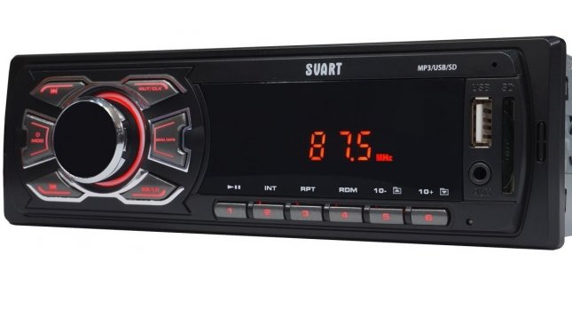 Rádio Automotivo MP3 FM SD CARD   SVART Red T100 TECH ONE