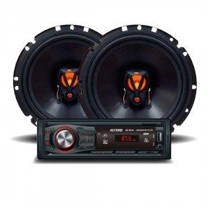 Imagem - Kit de Som para Carro Rádio Bluetooth AC3012 MP3 com Alto falantes JBL Triaxial Flex3 6' 6TRFX50 cód: KIT02