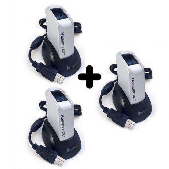 Kit 3 Leitores Biométricos Fingkey Hamster DX Nitgen