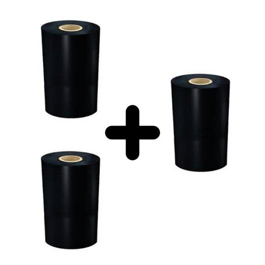 Kit Ribbon Cera 110mm X 90m 3 und - Para impressoras Argox/Zebra/Elgin