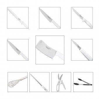 Kit Facas + Batedor Manual + Pegador de Silicone + Chaira e Tesoura Trinchante Gourmet Mix
