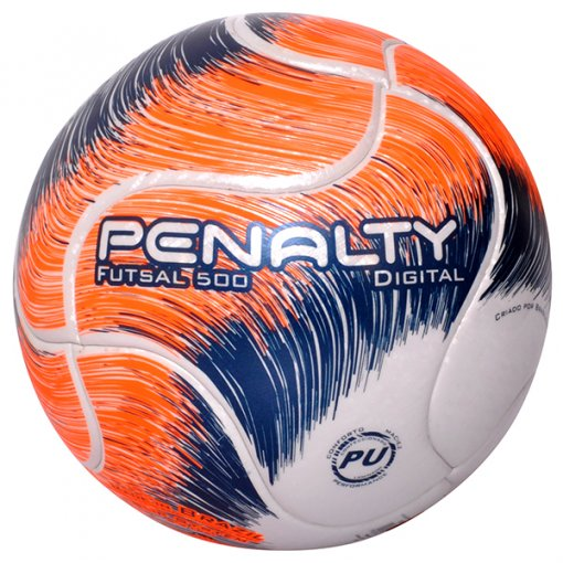 Bola Futsal Penalty Digital 500 Term VIII 5414911 Branco/Laranja/Azul