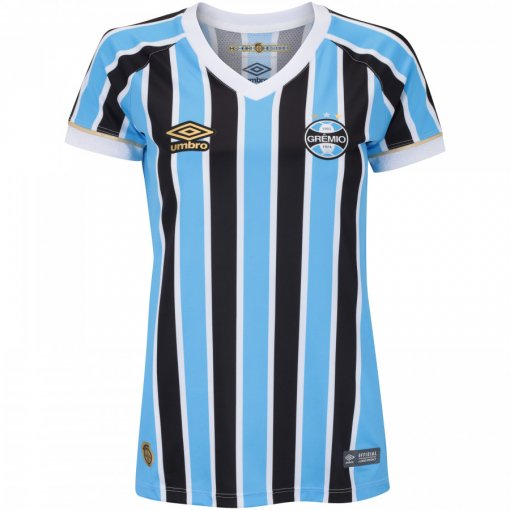 Camiseta Grêmio Feminina Umbro OF.1 2018 Tricolor